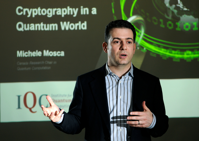 Mosca giving a speech on cryptography in a quantum world